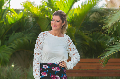 Look do dia: Floral com fundo escuro e renda guipure !