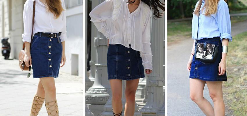 Trendy: Saia Jeans de Botões