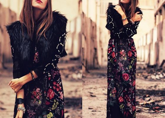 Trendy: Estampa floral com fundo escuro